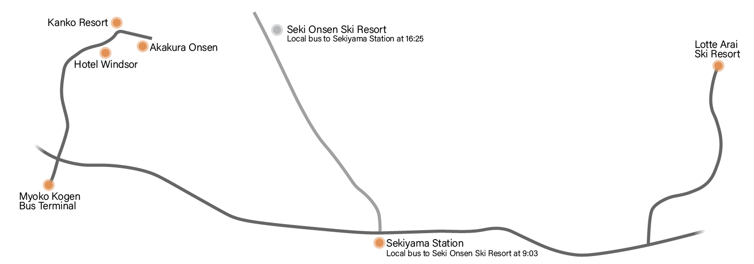 Map of the Lotte Arai Shuttle route
