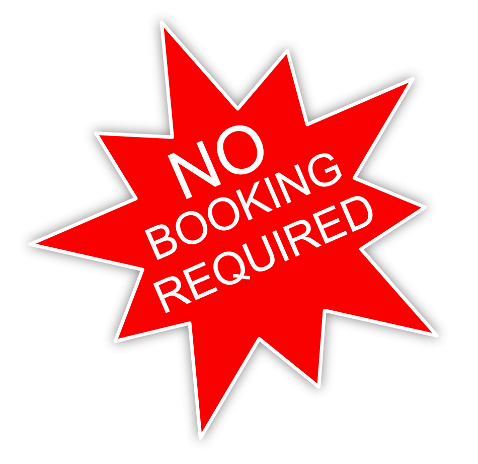 no booking required